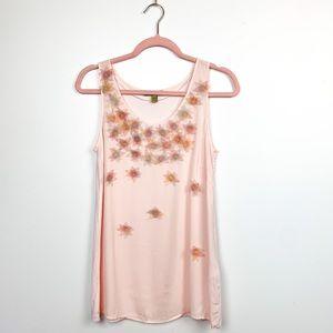 Bandolera Pink Tank Top with Sheer Floral Appliques